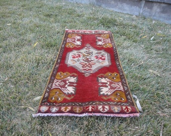 FREE SHIPPING ! Door mat,entrance rug,square rug,outdoors rug,hand made Turkish rug,vintage rug,43'' x 22''