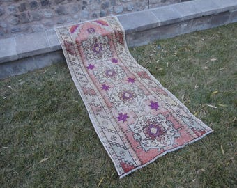 FREE SHIPPING !Runner rug,kitchen rug,hallway runner rug,long and narrow rug,Turkish vintage rug,low pile rug,distressed rug,97 x 35 inches