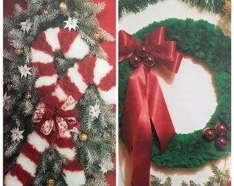 PDF 2 Macrame Candy Cane And Fluffy Wreath