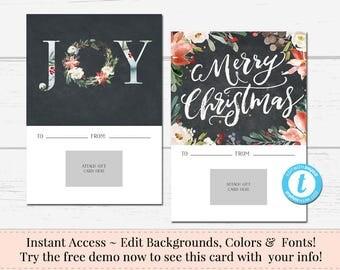 Printable Gift Card Holder, Christmas Gift Card Holder, Instant Download, Business Templates, Shop Voucher, DIY Card, Printable Christmas