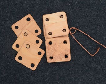 Tablet weaving tool / Card weaving tablets / Wooden tablets for weaving / Burnt holes / + copper pin / Inkle loom weaving / Handloom weaving