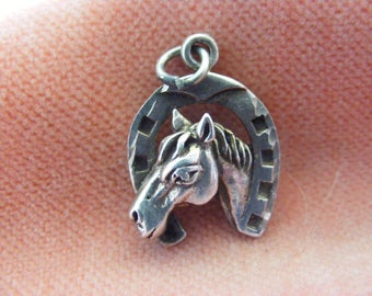 Vintage Sterling Silver Charm Horse head in a horseshoe