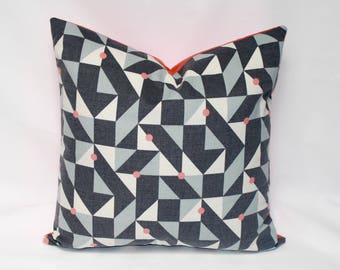 "22 x 22"" Pillow Cover with Coral Contrast Back - Designer Fabric - Geometric Accent Pillow - Modern Throw Pillow - Mid Century Pillow Cover"