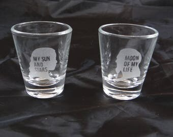 Game of Thrones- Daenerys Targaryen (My Sun and Stars) & Khal Drogo (Moon of My Life) Custom Etched Shot Glasses