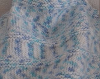 Hand Knitted Blue Baby Blanket