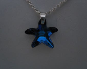 blue swarovski crystal starfish,  sterling silver rope chain