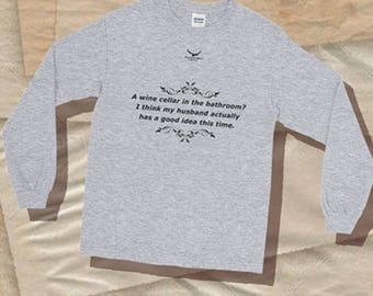 Wine Drinking Funny T-Shirt, Tee Shirts, Bathroom Wine Cellar