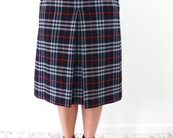 Vintage Burberry Plaid Wool  Skirt
