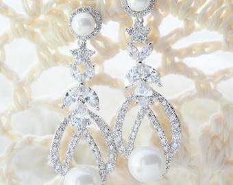 Bridal Pearl Earrings Long Pearl Bridal Earrings Long Wedding Pearl Earrings Wedding CZ Earrings Wedding Zirconia Earrings Wedding Jewelry