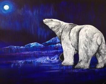 Custom Soul Painting/ polar bear, animal, animal guide, power animal, painting, original, art, drawing, sacred, northern lights, Alaska