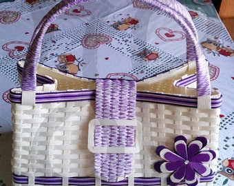 Japanese paper interwoven with white and purple bag