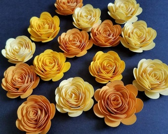 Set of 12 Yellow Rolled Paper Flowers, Quilled Flowers, Table Decor,