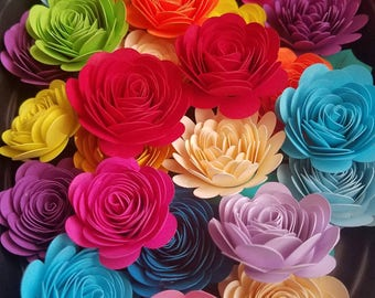 Set of 25 Mixed Rolled Small Paper Flowers, Shadow Box Flowers, Rainbow Flowers, Bridal Shower Decor, Baby Shower Decor, Table Decor