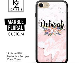 Floral Marble Case, Rose Marble Phone Case, Marble iPhone 7 Case, Personalized Gift, iPhone 7, Gift for Her, Rubber Case, Bumper