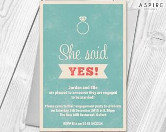 Premium Personalised Engagement Party Invitations Announcement Cards & Envelopes