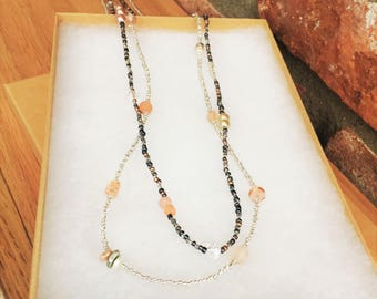 Double Strand Neutral Beaded Necklace