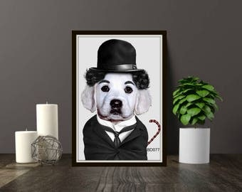 Dog print,funny dog print,charlie chaplin print,funny animal prints,bedroom prints,wall decor,digital print digital animal prints,