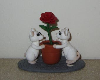 Polymer Clay White Mice with Red Rose
