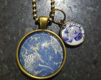 Blue and White  Floral Antique Bronze Pendant Necklace