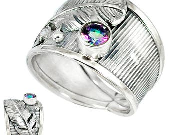 Wide Band Sterling Silver Ring with Feather and Rainbow Topaz Stone