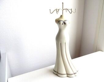 Woman 6 hooks beige wooden jewelry holder