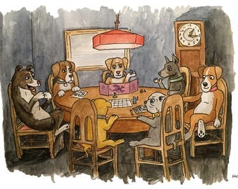 Dogs playing Dungeons and Dragons A4 Art Print