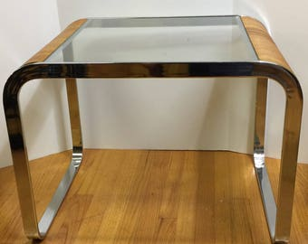 Pickup Only  - Mid Century Rattan and Chrome side table
