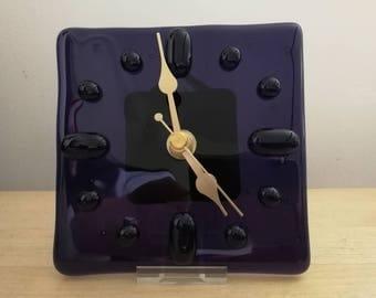 Purple Fused Glass Clock