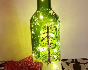 Handprint lighted Christmas bottle