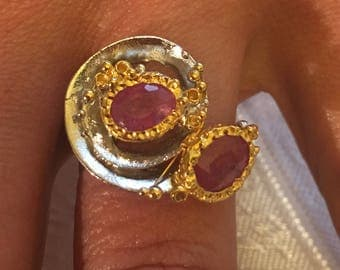 Art deco, Ruby, 925 silver sterling ring / size 57