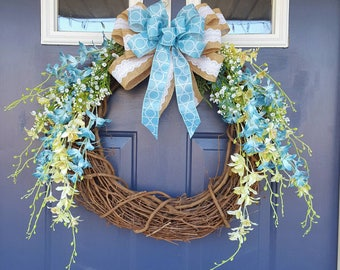"Blue and lime green orchid wreath for spring and summer. Matching bow. 18-20"" grapevine wreath. Optional burned wood sign. Farmhouse rustic"