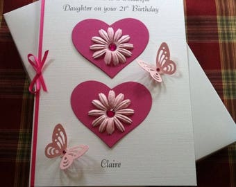 Handmade and Personalised Boxed Any Age 16th 18th 21st 30th 40th Birthday Card 3D Daughter Niece Friend or Granddaughter