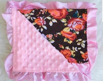 Brown Floral Minky Blanket