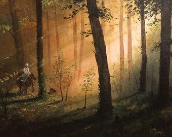 Western Painting, Acrylic on Canvas. 20 x 16.  Horsman and DOg in the Forest