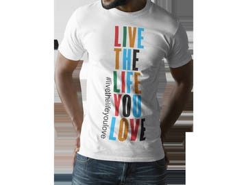 Love the Life you live (White) Men's Premium Fitted Short-Sleeve Crew Neck T-Shirt