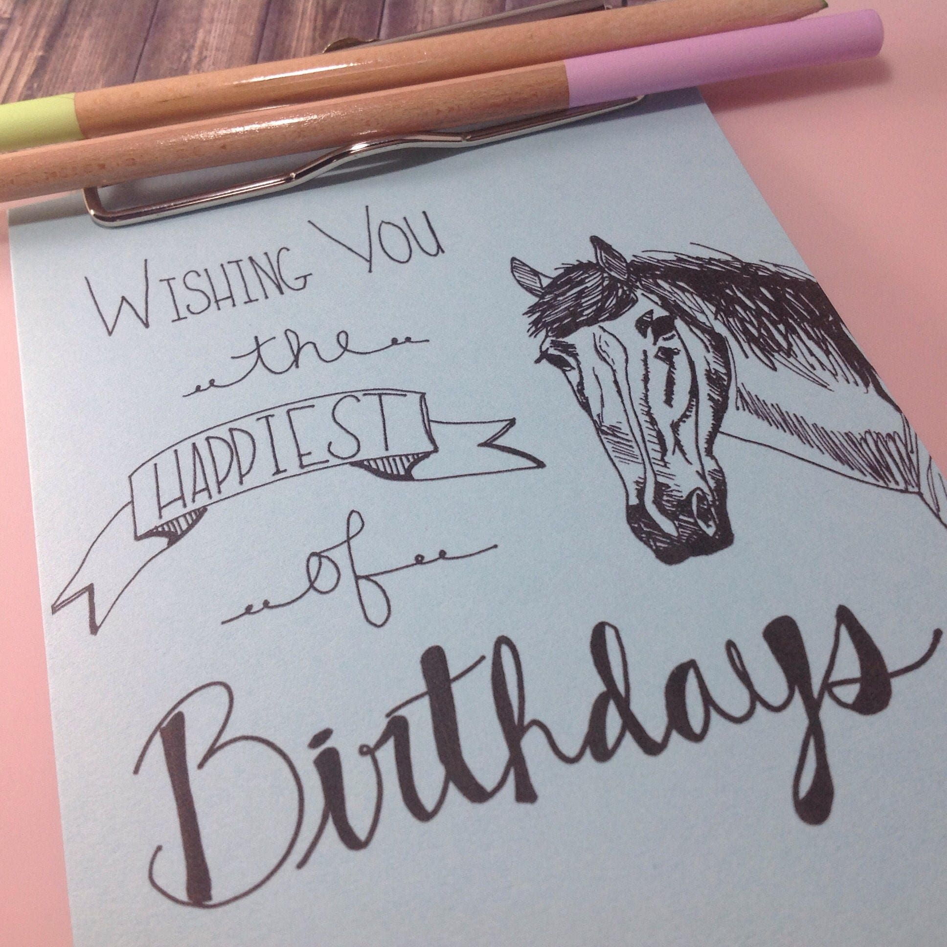 Horse birthday card hand drawn card printable rustic card