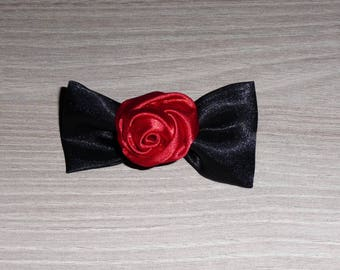 Black and red rose satin bow hair clip