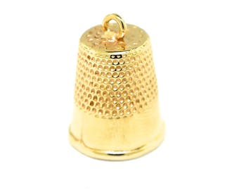 14k Yellow Gold 3D Sewing Thimble Charm/ Pendant