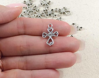 Silver Cross Charms | Antique Silver Cross Charm | Silver Cross Pendant | Religious Charms | Cross Heart Charms | Metal Cross 18x15mm SC271