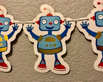 Robot Banner, Blue, Classroom Decor, Party Decorations, Party Supplies, Party Sign, Garland, Streamer, Kid's Birthday Party