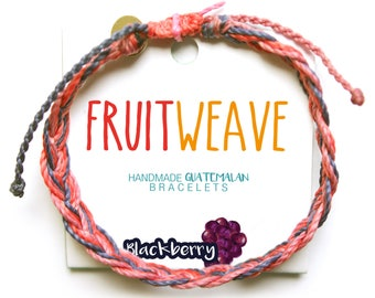 BLACKBERRY FEATHER BRACELET, Guatemalan Bracelets, Handmade bracelets, colorful bracelets, fruit based, fruit weave, friendship bracelets.