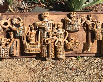 Vintage Hal Fromhold Pottery People Wall Art