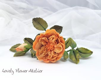 Rustic wedding comb - pink orange cold porcelain modelėe and hand - painted perennial flowers - hair accessories