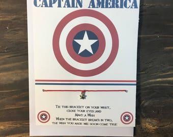 Captain America wish bracelet.Captain America charm bracelet.Star wish bracelet.Star charm bracelet.Captain America party favors