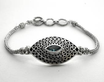 Blue Topaz Silver Bracelet Bali