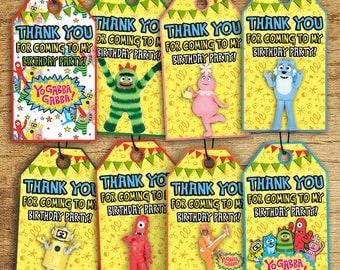 Yo Gabba Gabba Thank You Tags, Instant Download Yo Gabba Gabba Thank You Labels, Digital-Printable Yo Gabba Gabba Party Supplies