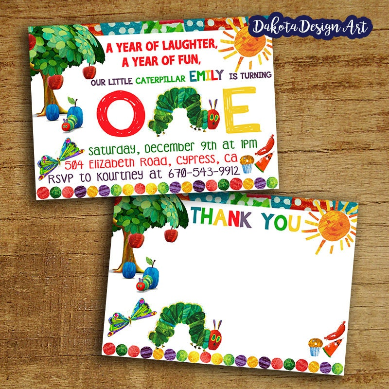 Very Hungry Caterpillar Birthday Invitation + Thank You Card, Very ...