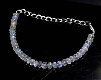 "Natural Rainbow Moonstone Round Beads Strand Bracelet  26 Carats 5"" Inches Strand, Size- 5 MM Approx Code-HN46"