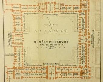 1913 Vintage Map of Louvre Museum Ground Floor, Paris, France, Excellent Condition!