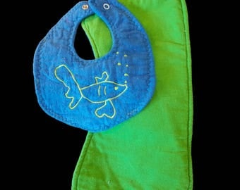 Handmade Blue and green fish and bubbles bib and burpcloth set.